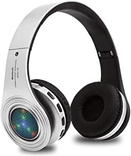 Kids Headphones Bluetooth Wireless, Over Ear LED Light Up Headset,Volume Control, Stereo Sound,Built-in Mic for Cellphone Tablets Computer Ipad for Children Girl Boy-Silver