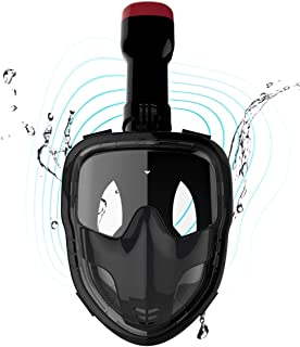 SpiningGame Snorkel Mask Flat Mirror 180° Panoramic Full Face Design Anti-Fog and Anti-Leak, for Adults Men and Women. (Black, L/XL)