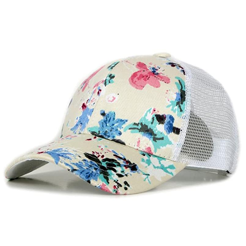 PT FASHIONS Floral Print Mesh Baseball Cap Adjustable Snapback Trucker Hat ll263893380
