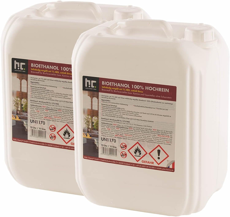 Hfer Chemie 60 L Bioethanol 100% Premium (6 x 10 L) für Ethanol Kamin, Ethanol Feuerstelle, Ethanol Tischfeuer und Bioethanol Kamin