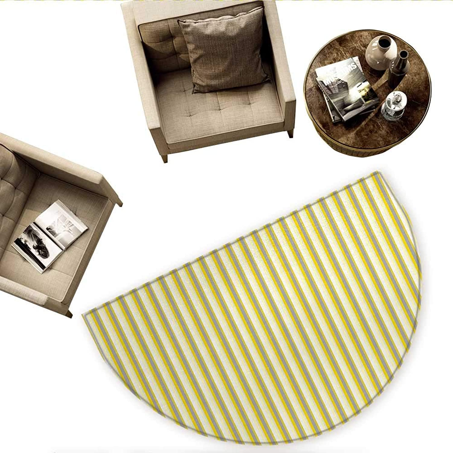 Yellow Semicircle Doormat Classical Pattern with greenical Stripes in Retro Style in Pastel colors Halfmoon doormats H 66.9  xD 100.4  Yellow Grey Coconut
