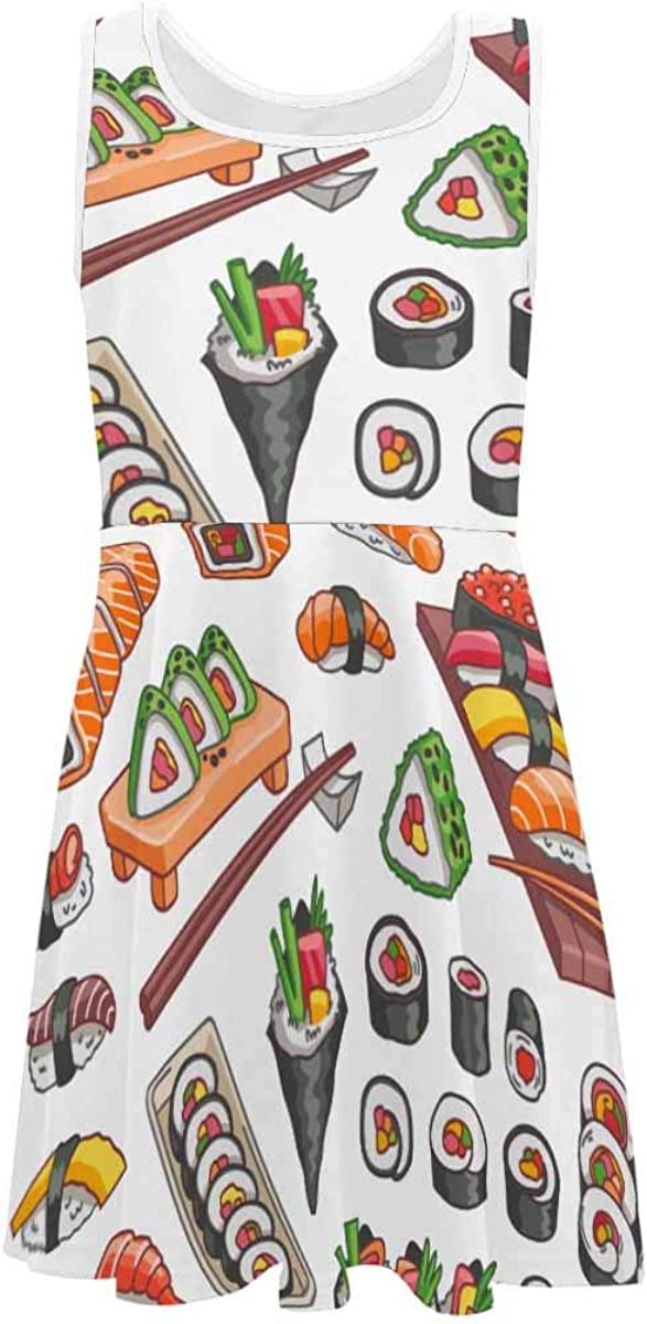 InterestPrint Girls Sleeveless Dress Round Neck Printed Dress Colorful Peacock Feather (2T-XL)