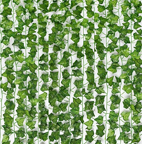 Genivy 12-Pack, Fake Ivy, 84-Feet, Realistic Silk Ivy Leaves with Plastic Stems, Green Strands