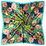 Vabovin Women's 35' Satin Square Silk Like Hair Scarves and Wraps Headscarf for Sleeping (Green Pink Rose Flowers)