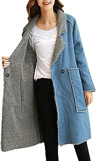 AOJIAN Women Jacket Long Sleeve Outwear Denim Button Notch Collar Pocket Coat