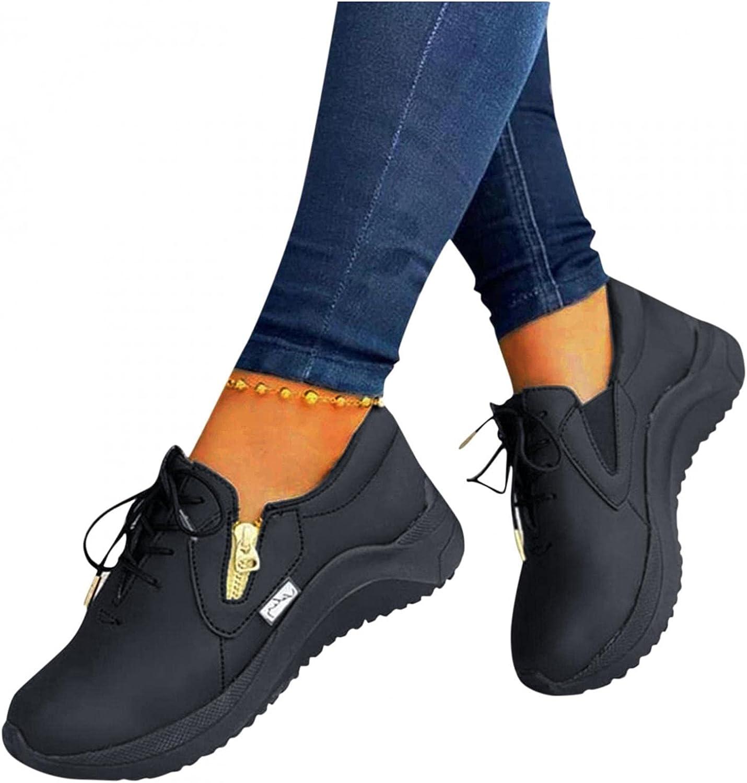 Hbeylia Women's Platform Fashion Sneakers Waterproof Leather Lac
