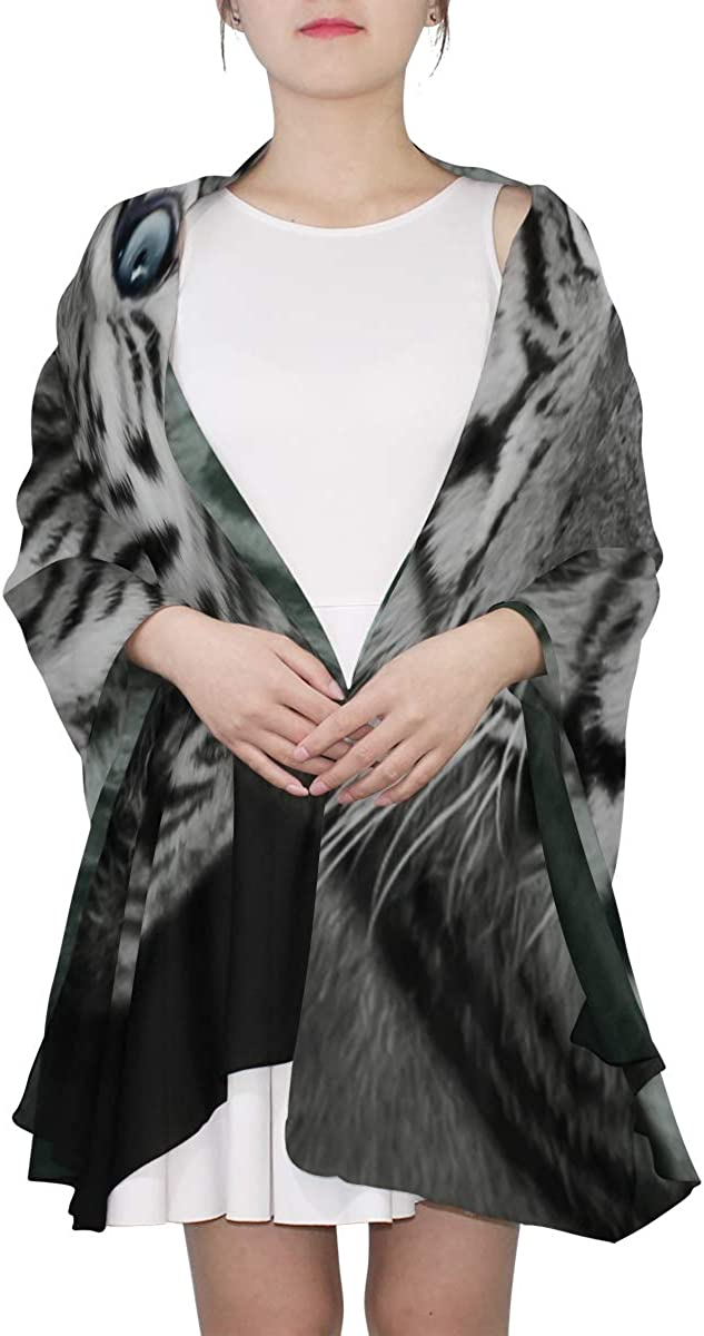 Rare And Beautiful White Tiger Unique Fashion Scarf For Women Lightweight Fashion Fall Winter Print Scarves Shawl Wraps Gifts For Early Spring