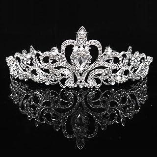Tiara a corona per capelli con brillanti e cristalli, cerchietto argentato, per matrimonio, feste, compleanni, da sposa, d...