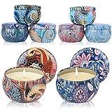 Warxin Aroma Kerzen, 8 Stück Duftkerze Geschenk Set, Natürliches Sojawachs für Yoga Aromatherapie Massage Stress Abzubauen, Aromatherapie-Kerzen für Weihnachten,Geburtstag,Valentinstag Etc