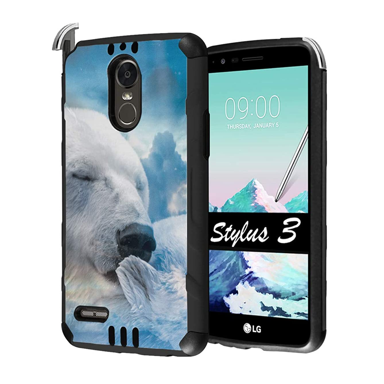 Capsule Case Compatible with LG Stylo 3, LG Stylo 3 Plus [Hybrid Dual Layer Supports Qi Wireless Charging Slim Defender Armor Combat Case Black] for LG Stylus 3 - (Polar Bear)