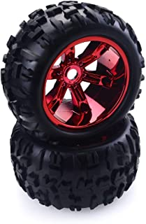 RC Tires Wheels 1/8 Scale 17mm Hex Monster Truck Tyres Remote Control Cars Tyre RC Wheel and Rim for Traxxas Redcat Hsp Team Losi GM DHK HPI, RC Car Accessories, Red 2 Pcs