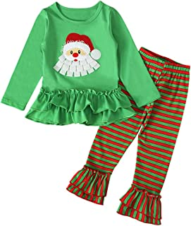 Santa Claus Print Tee Shirt and Pants boy Girl Coolbabe Christmas Pajamas Set for Unisex Kids