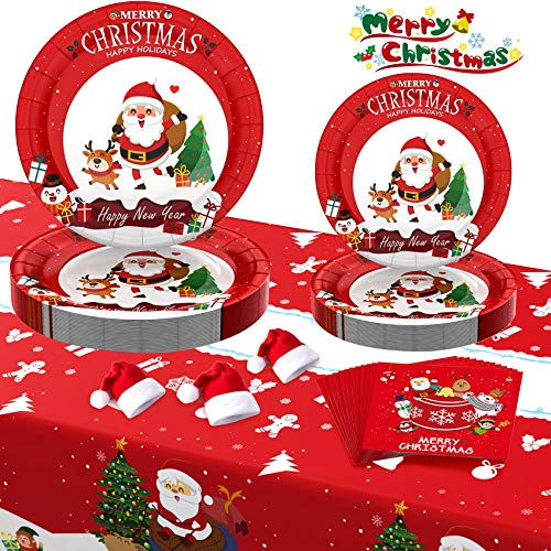 Christmas Paper Plates, Christmas Party Supplies, Christmas Decorations 7 Inch 9 Inch Party Plates and Napkins, Serve 30 Guests Disposable Dinnerware Sets for Christmas Party - 121 PCS