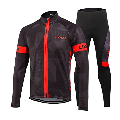 Skeleton Men Winter Fleece Cycling Jerseys Suit Bike Clothing Bicycle Pant Sets