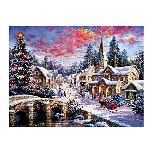 5D Diamond Painting Christmas Snow Scene, Diamond Painting by Number Kits for Adults Kids, Round Drill Embroidery Cross Stitch for Home Wall Decor Office Decoration (16.5x12.5 inch)