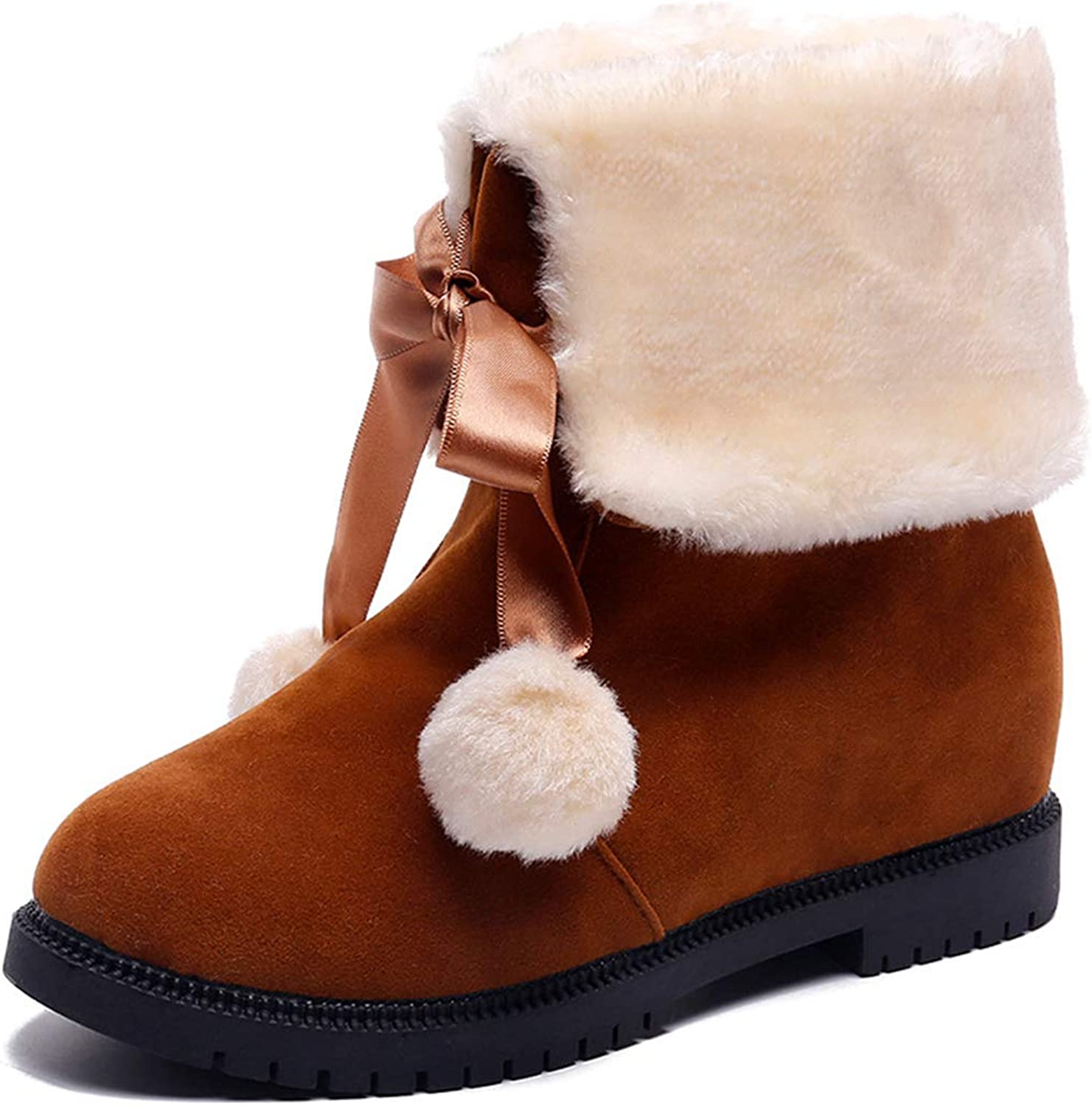 ASO-SLING Warm Mid-Calf Boots for Women Waterproof Suede Leather Non-Slip Fashion Snow Casual shoes