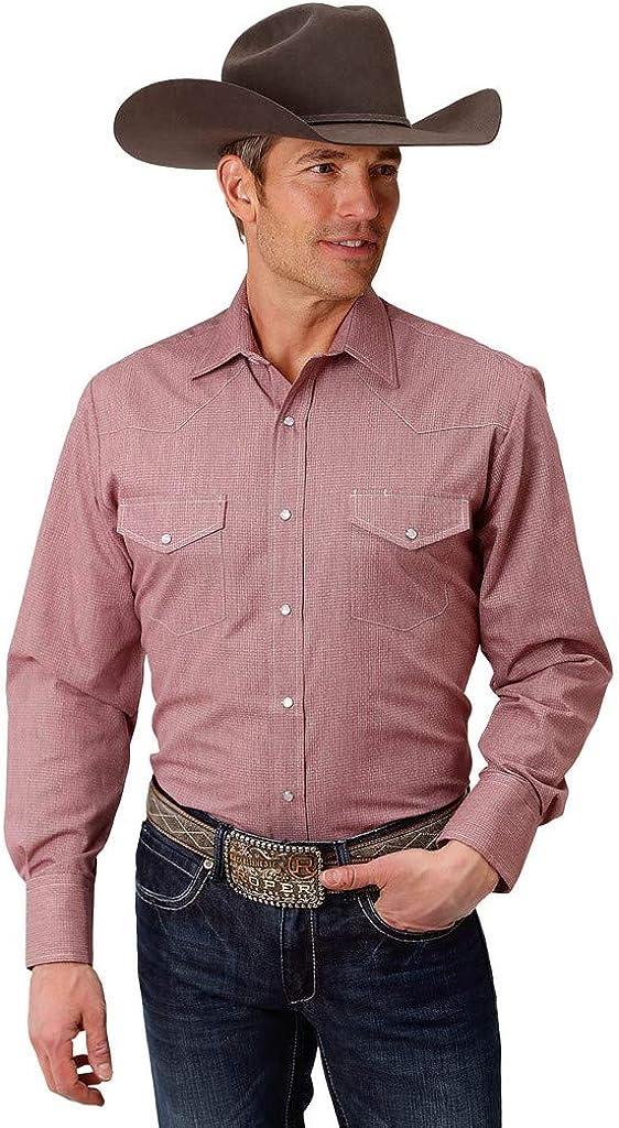 Roper Western Shirt Mens Snap L/S Tall 2XT Wine 01-001-0172-0700 WI