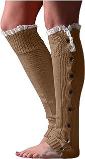 Snakell, Calentadores Piernas Mujer Calcetines de Punto Invierno Tejidos Cálidos Botón Calientapiernas Cortas Ganchillo Cubierta para Botas y Botines