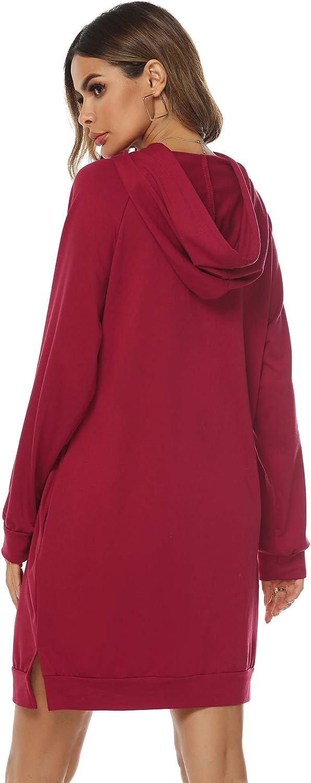 Sykooria Sudadera Larga con Capucha para Mujer Vestido Deportiva de Algod/ón con Bolsillos Jersey de Casual de Oto/ño Invierno de Color S/ólido