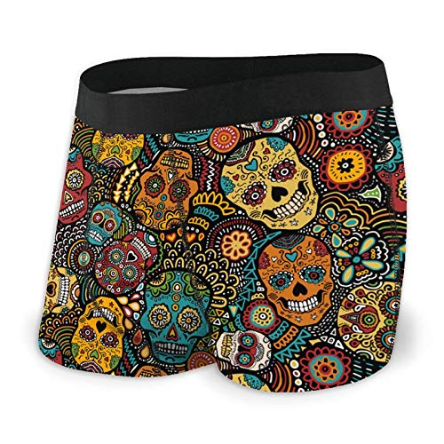 QXLN Mexican Skulls Men's Boxer Briefs Underwear with Comfortable...