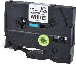 Laminated Label Tape Black on White Compatible for Brother P-touch Label Printer PT-1010/PT-2100/PT-18R/PT-E200/PT-9500 12mm X 8m
