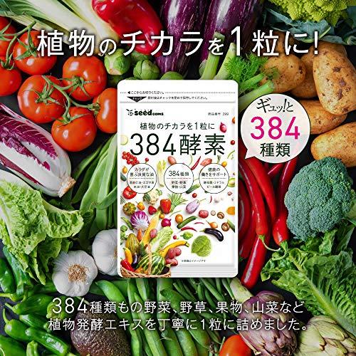 シードコムス384酵素サプリメント野菜野草果実海藻キノコ豆類ビール酵母亜麻仁油エゴマ油植物レシチン(約1ヶ月分30粒)