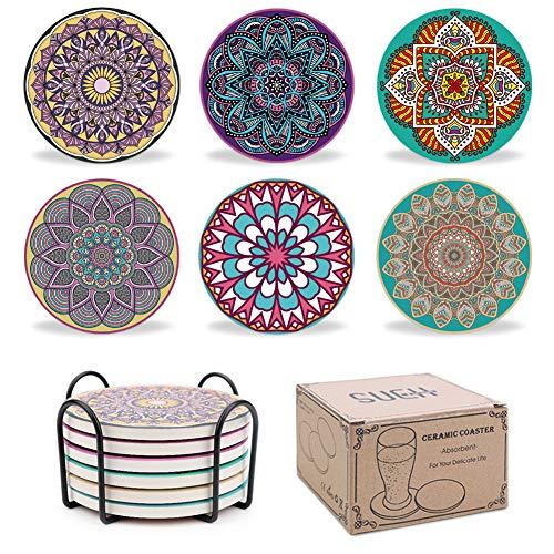 SueH Design Absorbierende Keramik Untersetzer Set für Getränke mit Halter | Original Mandala Tassen Getränke-Untersetzer 6er Set mit schützender Korkrückseite | Schickes Geschenk für Freunde