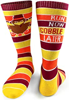 Run Now Gobble Later (Yellow/Orange/Brown) Printed Mid Calf Socks | Running Socks by Gone For a Run | Multiple Sizes