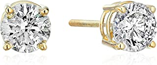 Certified 1/3cttw 14k Gold Diamond Stud Earrings – J-K Color, I2 Clarity, White or Yellow Gold