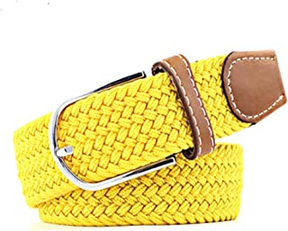 SGJFZD Men's and Women's Canvas Woven Elastic Pin Buckle Belt Personality Fashionable Student Belt (Color : Yellow, Size : 105cm)