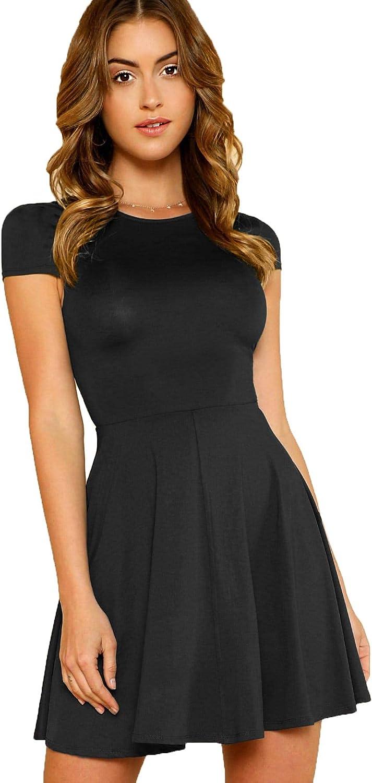 Milumia Women's V Back Fit and Flare Short Sleeve Stretchy Short Swing Mini Basic Dress