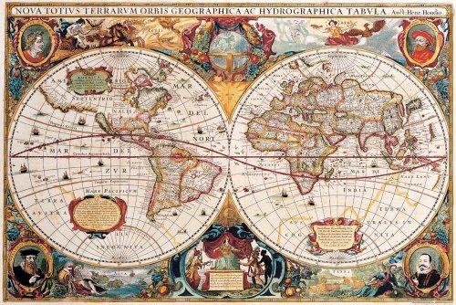 Landkarten - Antike Weltkarte - Educational Plakat, Maxi-Poster, Druck, Poster - Grösse 91,5x61 cm