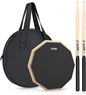 The 12-inch Double Sided Premium Practice Drum Pad, 4-in-1 Laminate + Conditioning - Fully Rimmed With Four Different Hitting Surfaces, The Most Versatile Drum Practice Pad In The Market Donner Drum Practice Pad, 12 Inch Double Sided Silent Drum Pad With Drumsticks, Blue Donner Drum Practice Pad With Snare Drum Stand Kit, Including 12 Inches Double Sided Drum Pad, Drumsticks, Adjustable Stand Fits 10''-14'' Dia Drums Tromme Drum Practice Pad and Carrying Case , 12 Inch Silicone with Wooden Base and Real Drum Feel ,Sticks and Stand Not Included (Blue) LOLUNUT 8 Inch Silent Drum Pad, Dumb Drum Beginner Rubber Practice Pad, with 5A Drum Sticks (8 Inch-Black)