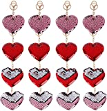 16 Pieces Flip Sequin Heart Keychain, Sequin Key Ring for Valentine's Day Party Favors Pink and Red