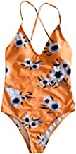 Elogoog Women's Flower Cutout Deep V Neck Monokini Backless New Printing One Piece Swimsuit Bathing Suit