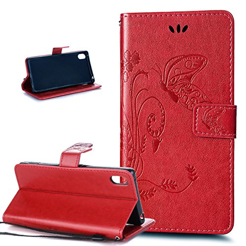 Kompatibel mit Sony Xperia Z3 Hülle,Sony Xperia Z3 Plus/Z3s Hülle,Prägung Groß Schmetterling Blumen PU Lederhülle Flip Hülle Cover Ständer Wallet Tasche Schutzhülle für Sony Xperia Z3/Z3 Plus/Z4,Rot