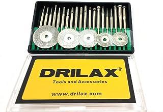 "Drilax 25 pcs Diamond Coated Burs Cut Off Disc Set Assorted Shapes Cone Cylindrical Round Bit Bur Kit Jewelry Beach Sea Glass Shells Gemstones Lapidary 1/8"" Shaft"