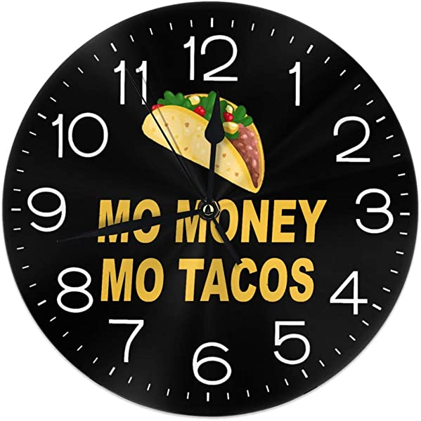 Money Tacos Wall Clock Silent Non Ticking Round Easy To Read For Home Office School Clock