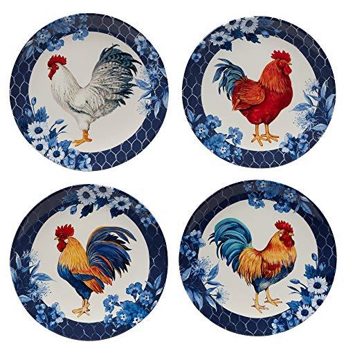 Certified International Indigo Rooster 11' Dinner Plates, Set of 4, Multicolor