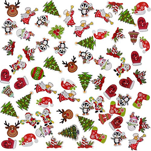 MSCFTFB 100 Pieces Christmas Series Wood Buttons Christmas Santa Tree Bell Angel Stocking Holly Wreath Deer 2 Holes Flatback Wooden Buttons Beads Knitting Scrapbooking DIY Embellishment