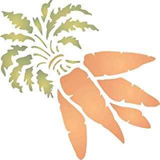 """Carrot Stencil - (size 4.5""""w x 4.5""""h) Reusable Wall Stencils for Painting - Best Quality Vegetable Kitchen Stencil Ideas - Use on Walls, Floors, Fabrics, Glass, Wood, Terracotta, and More…"""