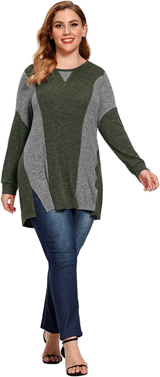 LARACE Swing Tunic Tops for Women Plus Size Color Block Side Split Long Sleeve Shirt Loose Fit Casual Cashmere Sweater
