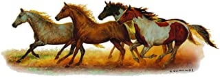 Enjoy It Wild Wings Running Horses Full Color Car Sticker, Outdoor Rated Vinyl Sticker Decal