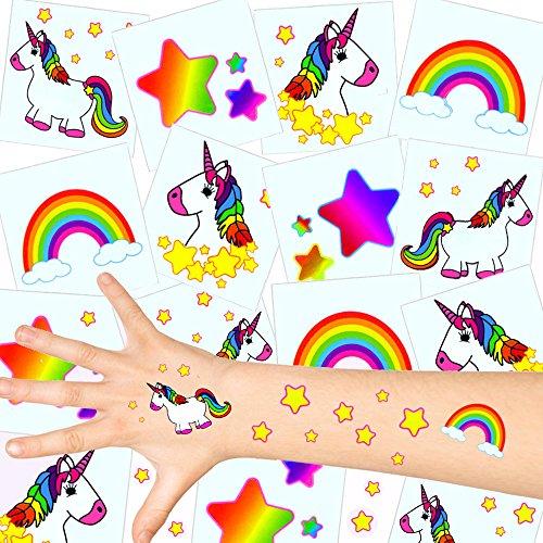 German Trendseller ® - Kinder Tattoos - Einhorn Set ┃ NEU ┃ Einhorn Party ┃ Kindergeburtstag ┃ Mitgebsel ┃ 36 Tattoos