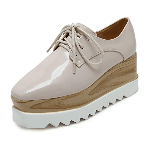 3bdad3b316 TENGYUFLY Women's Platform Wedges Oxfords Classic Casual Lace Up Mid Heels  Wingtips Square Toe Shoes