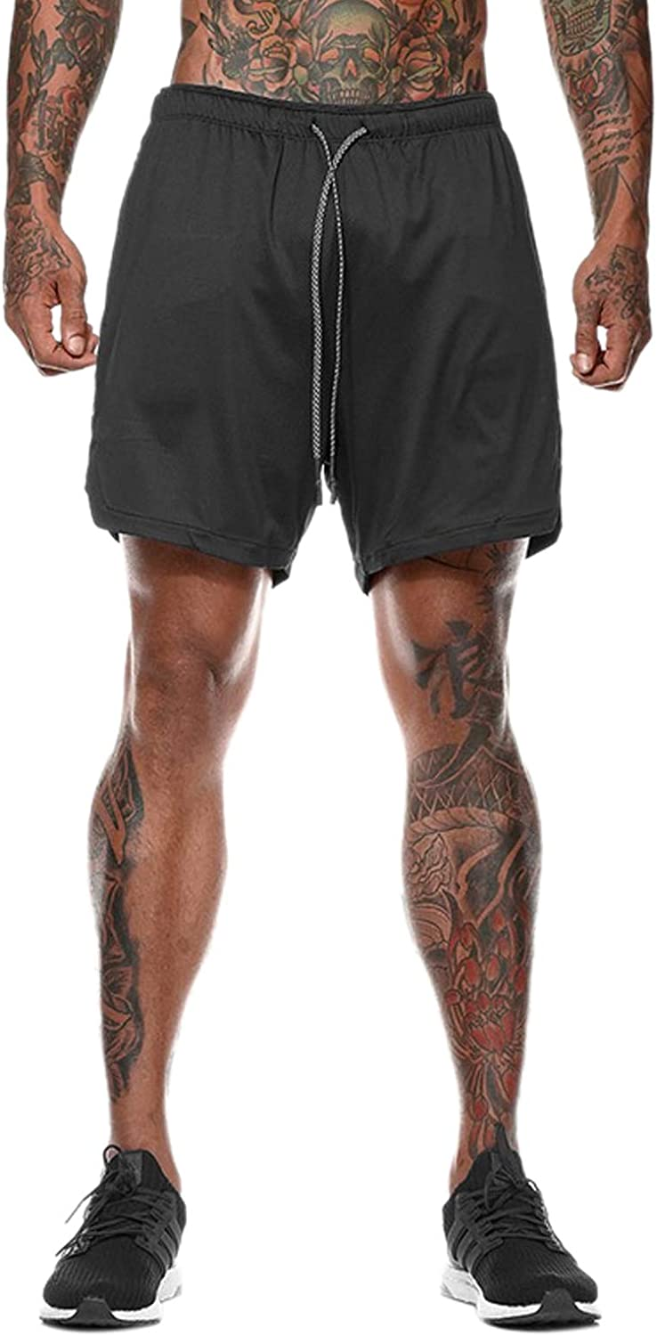 Elonglin Men Workout Gym Running Shorts Training with Inner Compression Quick Dry