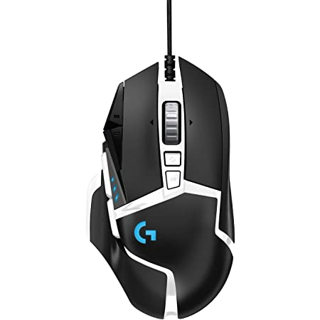 Logitech G502 Hero High Performance Gaming Mouse Special Edition, Hero 16K Sensor, 16 000 DPI, RGB, Adjustable Weights, 11 Programmable Buttons, On-Board Memory, PC/Mac - Black/White