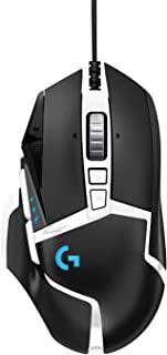 Logitech G502 HERO High Performance Gaming Mouse Special Edition, HERO 16K Sensor, 16 000 DPI, RGB, Adjustable Weights, 11 Programmable Buttons, On-Board Memory, PC / Mac – Black / White