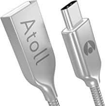 Atoll USB C Cable, (2-Pack, 3foot) Metal USB Type C Cable, Fast Charging Braided Cord Compatible with iPad Pro, Samsung Galaxy S8, S9, Note 8, 9, LG V20, V30, Google Pixel, Nintendo Switch