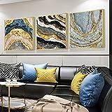 ZHQHYQHHX Cuadro abstracto de lujo cuadrado de porcelana de cristal moderno arte tríptico mural marco dorado Hotel hogar salón decoración de pared 3 unids/set 60 * 60 cm pintura colgante